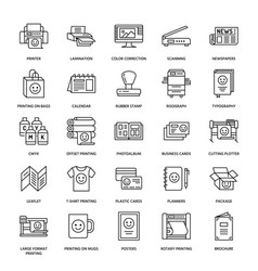 printing house flat line icons print shop vector image