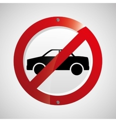 Prohibited traffic sign round icon design vector