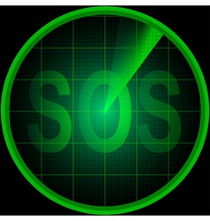 Radar screen with the word SOS vector image vector image