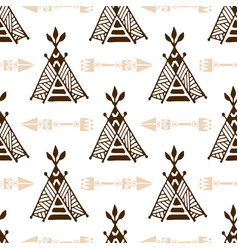 Seamless wigwam pattern with arrows hand-drawn vector
