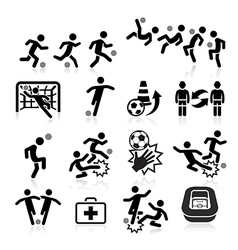 Soccer player icons set vector image vector image
