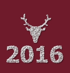 Symbol Xmas Deer head red backdrop made from white vector image vector image