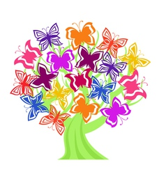 tree with butterflies vector image