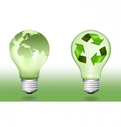 two ecologic light bulbs vector image