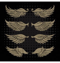 Wings in Grunge Style vector image vector image