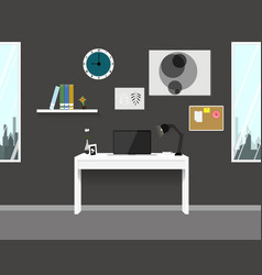 Workspace interior home modern design vector