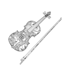 Coloring page with ornamental violin and vector image