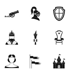 Military armor icons set simple style vector
