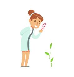 Girl botanist studying plant kid doing botany vector
