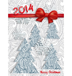 Christmas card with an ornament and red bow vector