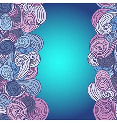 Border with abstract hand-drawn waves pattern vector