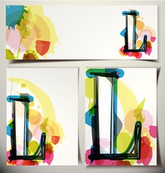 Artistic greeting card letter l vector