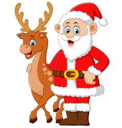 Cartoon santa and deer posing vector