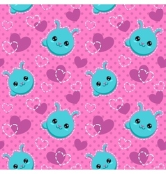 Seamless pattern with funny bunny faces vector