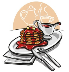pancakes with syrup vector image