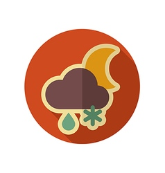 Cloud snow rain moon retro flat icon weather vector