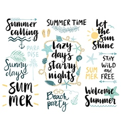 Summer lettering design set - hand drawn vector