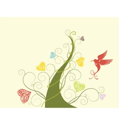 abstract tree with bird vector image