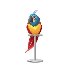 Tropical colorful parrot sitting on perch vector