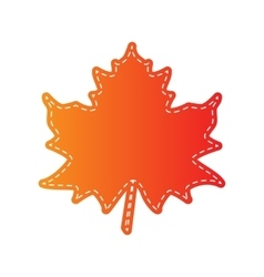 Maple leaf sign orange applique isolated vector