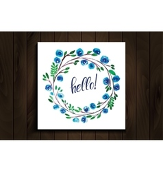 hello lettering in a frame of watercolor flowers vector image