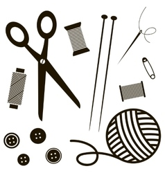 Black sewing and knitting tools vector