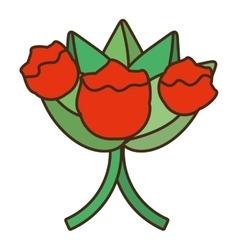 bucket red flowers wedding icon vector image vector image