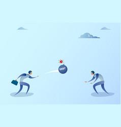 business men throwing each other bomb credit debt vector image vector image