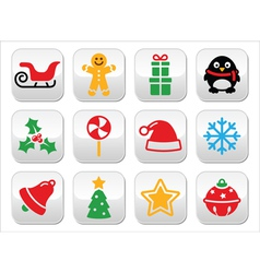 Christmas buttons set - santa xmas tree present vector