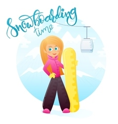 detailed flat ginger girl with snowboard on vector image