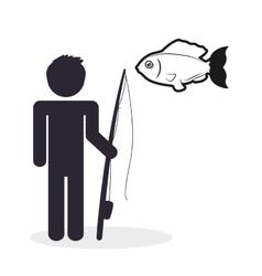 Fishing design fisherman icon isolated vector