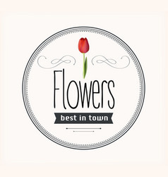 Flowers vintage retro label vector