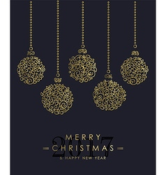 Gold Christmas and new year ornamental baubles vector image vector image