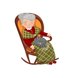 Grandma sleeping in cozy chair with cat on her vector