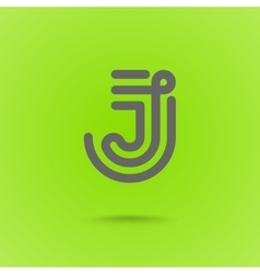 Graphic line font logo element letter j vector