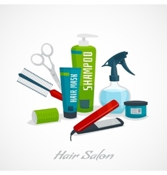 Hair salon concept hair care tools composition vector image