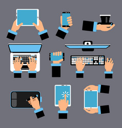 hands holding different computer devices laptop vector image
