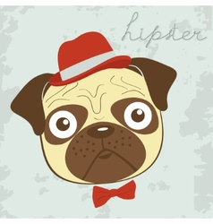 Hipster pug vector