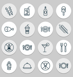 Icons set collection of platter alcohol forbid vector