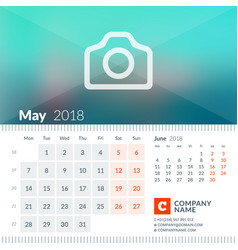 may 2018 calendar for 2018 year week starts on vector image