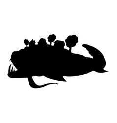 Miracle yudo fish whale silhouette fairytale vector