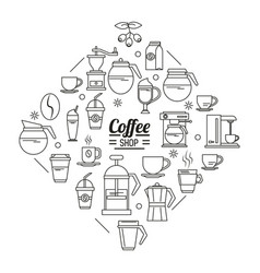 Monochrome poster of coffee shop with several vector
