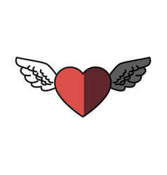 Romantic heart wings cute decoration shadow vector