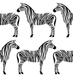Seamless pattern with zebra silhouette vector