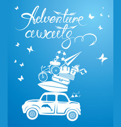 Seasonal card with small and cute retro travel car vector