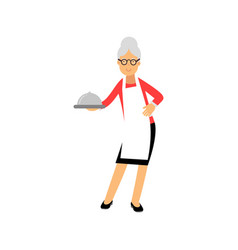 senior woman character standing and holding vector image vector image