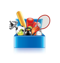 Sport objects box isolated vector