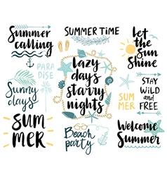 Summer Lettering Design Set - hand drawn vector image vector image