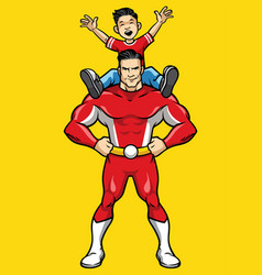 superhero and kid vector image
