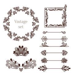 vintage frames and border elements decoration vector image